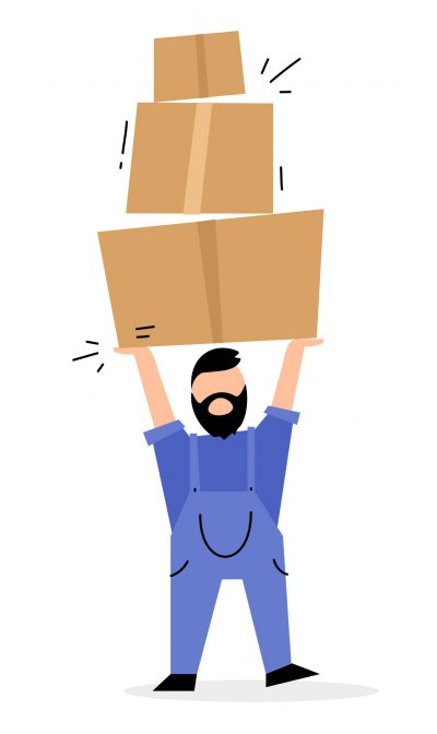 Vector creative illustration of delivery man in blue color uniform holding up box on white background. Flat style design for web, site, banner, poster, advertising